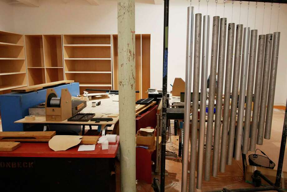 "A view of some musical instruments created by the late Gunnar Schonbeck, a Bennington College music professor, that will be part of the exhibition ""No Experience Necessary"", seen in the newly renovated building 6 at Mass MOCA on Wednesday, April 5, 2017, in North Adams, MA.  The shelves in the back will be filled with Schonbeck's instruments that museum goers will be able to handled and played.    (Paul Buckowski / Times Union) Photo: PAUL BUCKOWSKI / 20040119A"