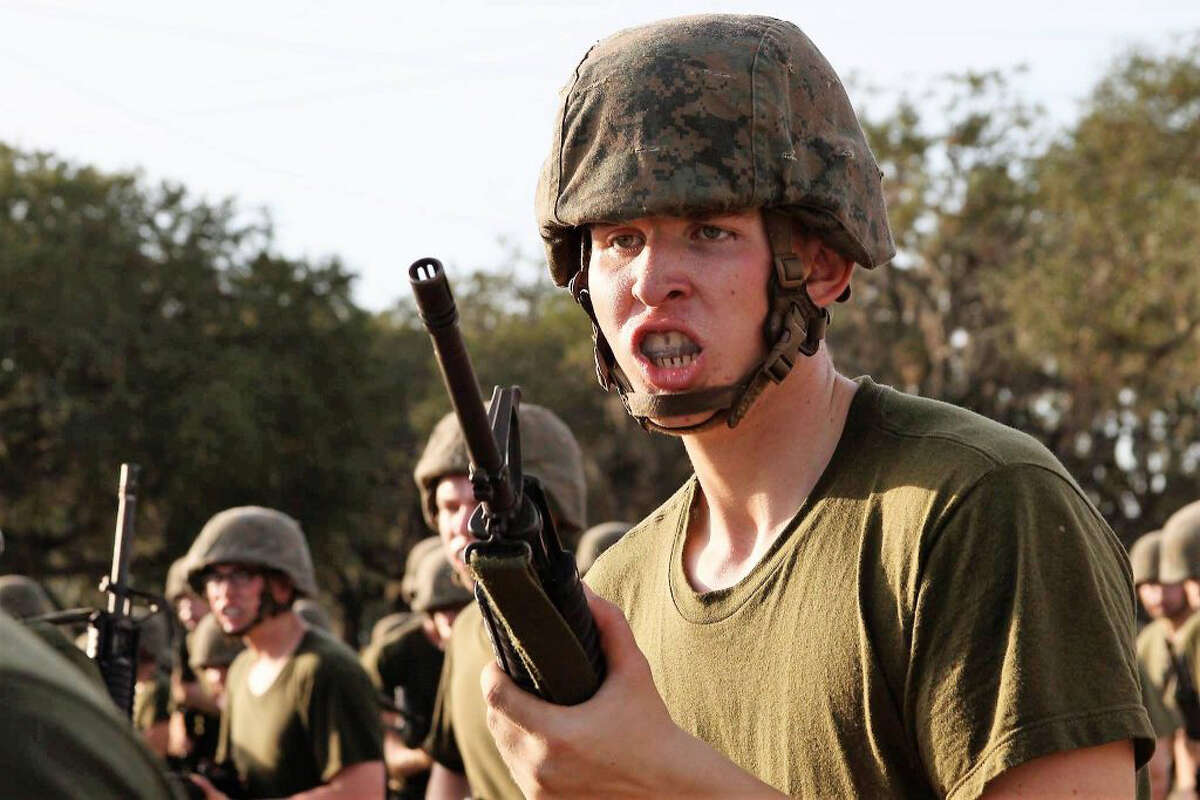 Zachary Boland, 18, is shown during boot camp training at Parris Island, S.C.