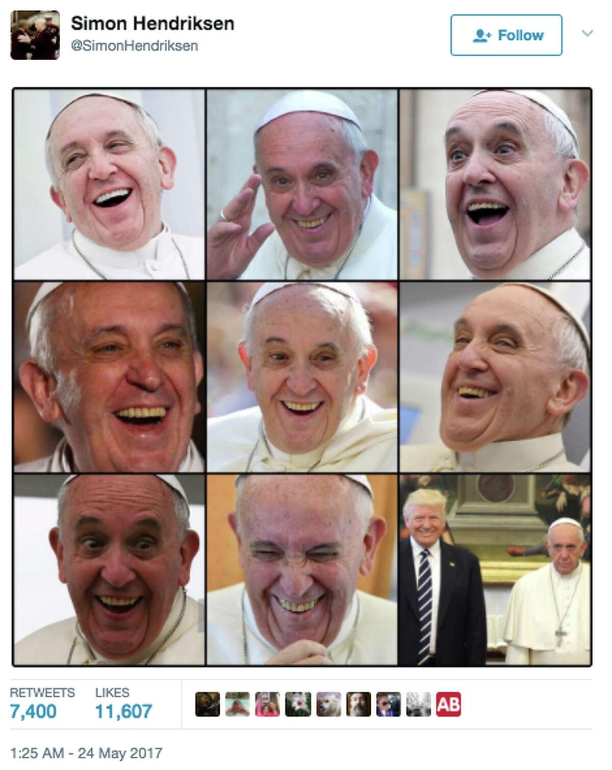 Pope Francis looking solemn as he stands with the Trumps for a photo opp has spurred a new meme.