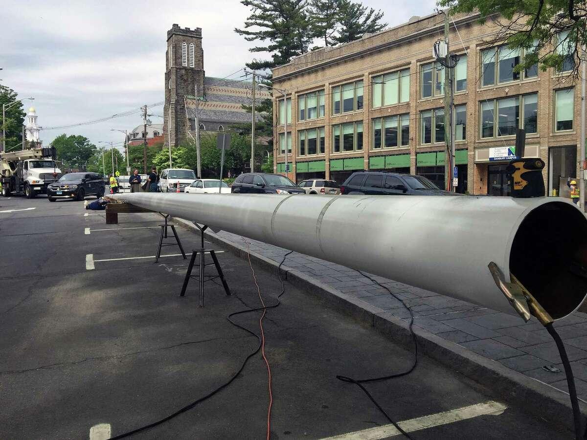 Danbury's new 100-foot flagpole.