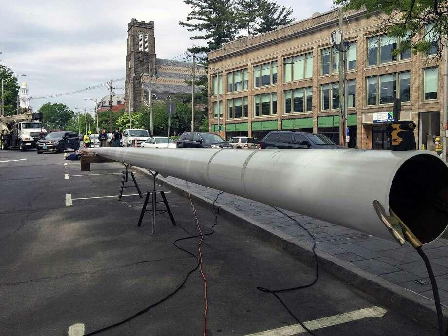 Danbury's new 100-foot flagpole. Photo: / Rob Ryser