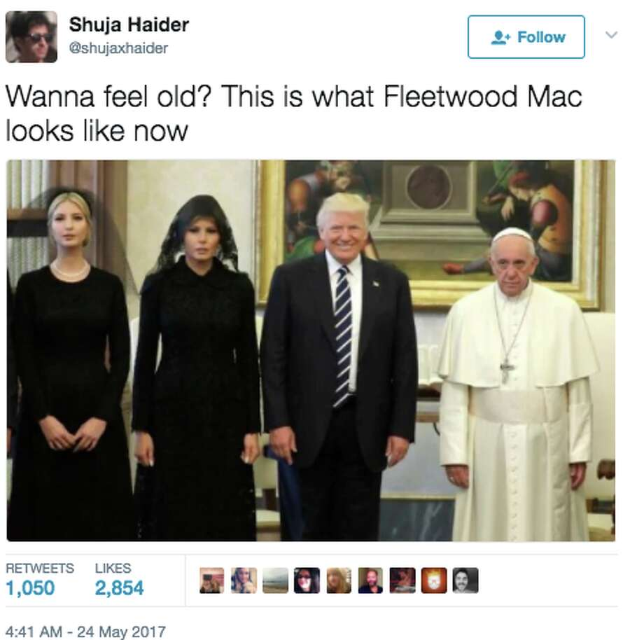 Pope Francis looking solemn as he stands with the Trumps for a photo opp has spurred a new meme. Photo: Twitter Screen Grab
