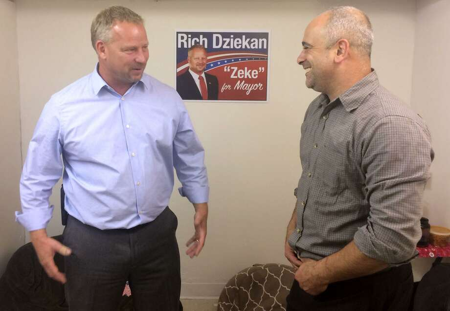 Derby Republican Mayoral candidate Richard Dziekan talks with Sam Pollastro Jr., Republican Town Chairman and a Board of Apportionment and Taxation member as they wait for the polls to close in Derby, Conn. on Tuesday, Nov. 3, 2015. Photo: Michael P. Mayko / Hearst Connecticut Media / Connecticut Post