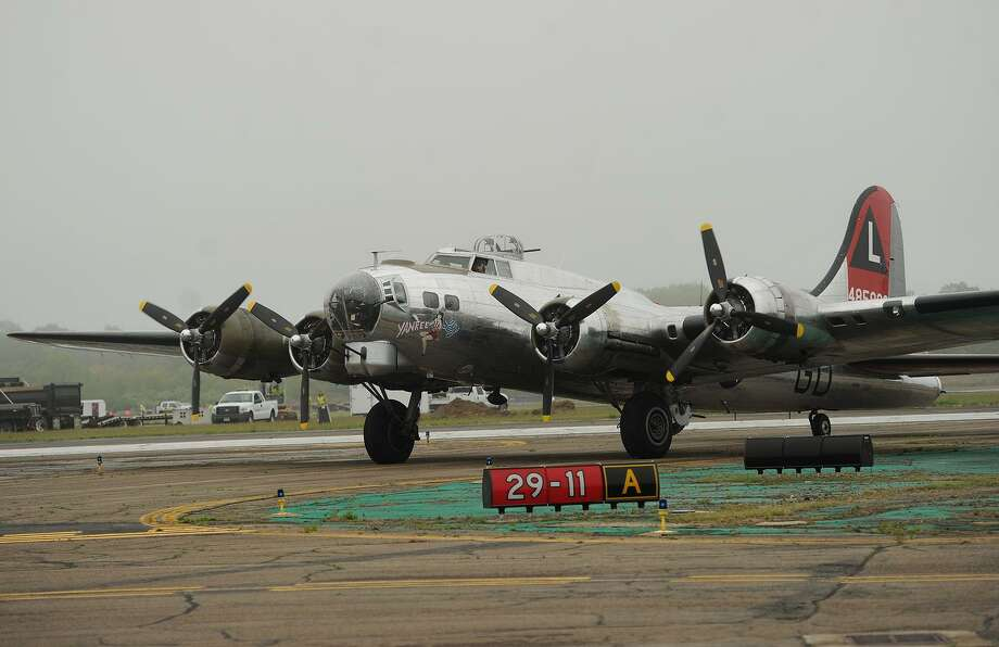 """The World War 2 B-17 bomber """"Yankee Lady"""" taxis to the groundbreaking ceremony for the Curtiss Hangar restoration project at Sikorsky Airport in Stratford, Conn. on Tuesday, May 19, 2015. The historic aircraft will be visiting Sikorsky Airport again on May 30-31, 2017. Photo: Brian A. Pounds / Brian A. Pounds / Connecticut Post"""