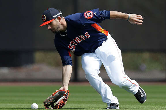 Houston Astros outfielder Andrew Aplin (80) during spring training at The Ballpark of the Palm Beaches, in West Palm Beach, Florida, Saturday, February 18, 2017.