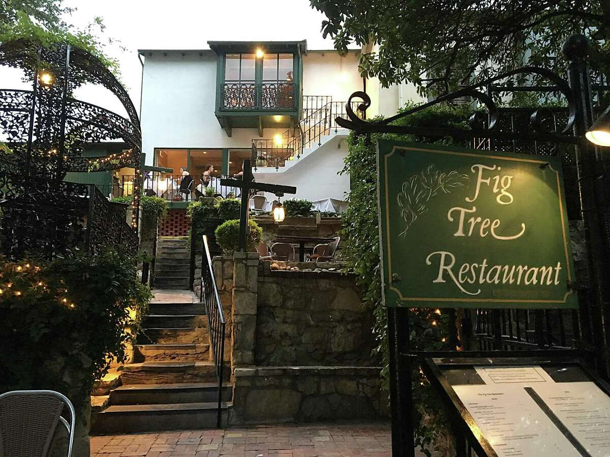 The towering view from the River Walk side of Fig Tree Restaurant