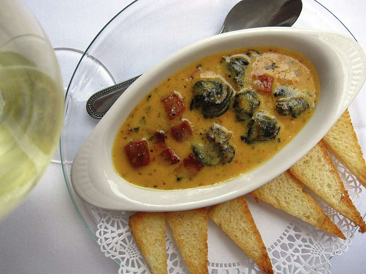 Basque-style escargot with tomato confit and Spanish chorizo at Fig Tree Restaurant.