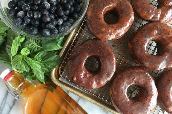 Brioche Doughnuts With Blueberry-Bourbon-Basil Glaze