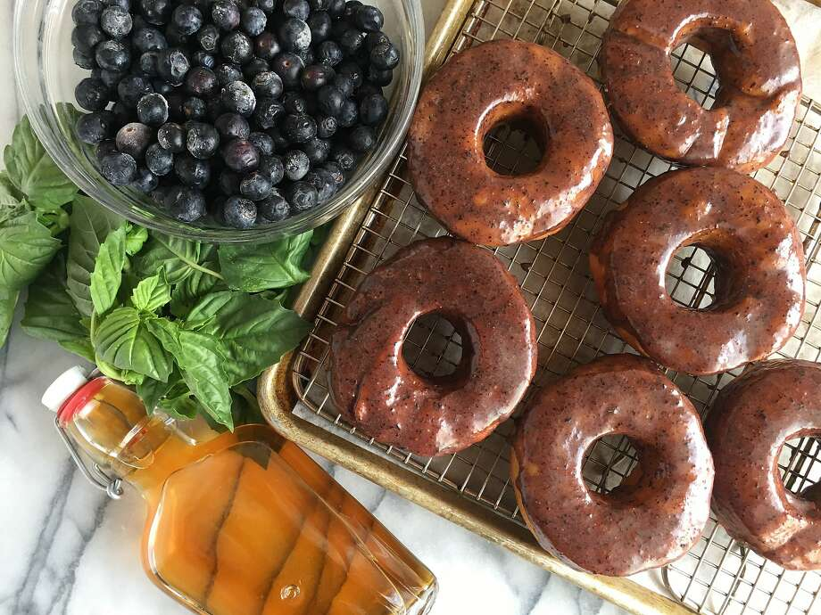 Brioche Doughnuts With Blueberry-Bourbon-Basil Glaze Photo: Sarah Fritsche