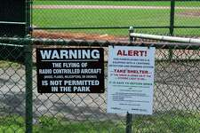 A Mead Park sign prohibiting the use of drones in the park, on May 23, 2017 in New Canaan, Conn.