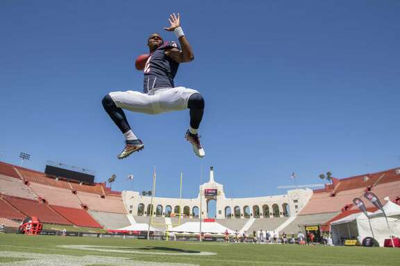 IMAGE DISTRIBUTED FOR NFLPA - Quarterback (4) Deshaun Watson of the Houston Texans participates in the 2017 NFLPA Rookie Premiere on Saturday, May 20, 2017, in Los Angeles. (Jeff Lewis/AP Images for NFLPA)