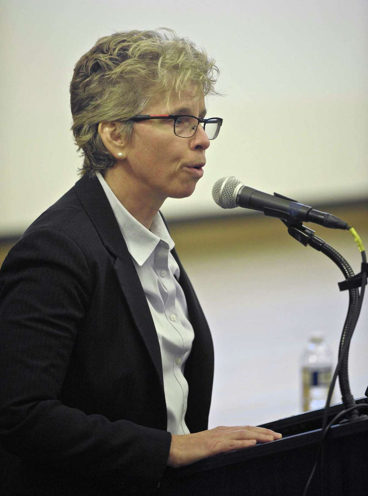Superintendent Karen Baldwin presents her recommended schools budget at a Ridgefield Board of Education public hearing on Saturday morning, February, 20, 2016, at Scotts Ridge Middle School, in Ridgefield, Conn.