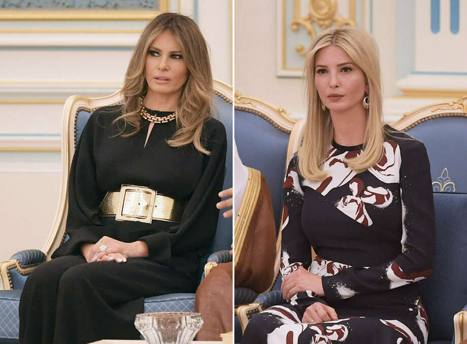 US First Lady Melania Trump (left) and White House Advisor Ivanka Trump (right) during a ceremony where US President Donald Trump received the Order of Abdulaziz al-Saud medal from Saudi Arabia's King Salman bin Abdulaziz al-Saud at the Saudi Royal Court in Riyadh on May 20, 2017. Photo: Getty Images
