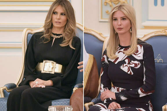 US First Lady Melania Trump (left) and White House Advisor Ivanka Trump (right) during a ceremony where US President Donald Trump received the Order of Abdulaziz al-Saud medal from Saudi Arabia's King Salman bin Abdulaziz al-Saud at the Saudi Royal Court in Riyadh on May 20, 2017.