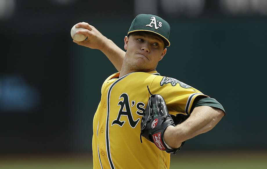 Oakland Athletics pitcher Sonny Gray works against the Miami Marlins in the first inning of a baseball game Wednesday, May 24, 2017, in Oakland, Calif. (AP Photo/Ben Margot) Photo: Ben Margot, Associated Press