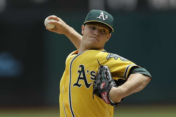 Oakland Athletics pitcher Sonny Gray works against the Miami Marlins in the first inning of a baseball game Wednesday, May 24, 2017, in Oakland, Calif. (AP Photo/Ben Margot)