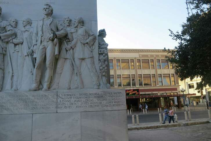 The Cenotaph, erected in 1939, may be removed from Alamo Plaza as part of a comprehensive restoration. A reader makes a plea to keep it where it is.