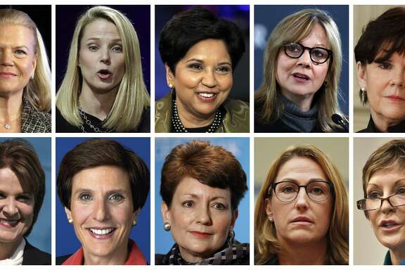 According to a study by Equilar and the Associated Press, the 10 highest-paid women CEOs in 2016, were (top row, from left): IBM CEO Virginia Rometty; Yahoo CEO Marissa Mayer; PepsiCo CEO Indra Nooyi; General Motors CEO Mary Barra, and General Dynamics CEO Phebe Novakovic. Bottom row, from left: Lockheed Martin CEO Marillyn Hewson; Mondelez International CEO Irene Rosenfeld; Duke Energy CEO Lynn Good; Mylan CEO Heather Bresch; and Reynolds American CEO Susan Cameron.