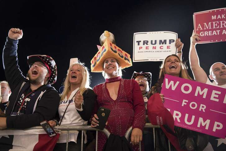 This is who Trump said he would rage a revolution for — but, so far, what revolution? Everything he has done is pro-establishment or circling the wagons because of his own actions. Here, a rally for Donald Trump in Cedar Rapids, Iowa, Oct. 28, 2016.