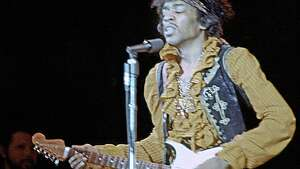 MONTEREY CA - JUNE 18: Jimi Hendrix performs onstage at the Monterey Pop Festival on June 18, 1967 in Monterey, California. (Photo by Michael Ochs Archives/Getty Images)