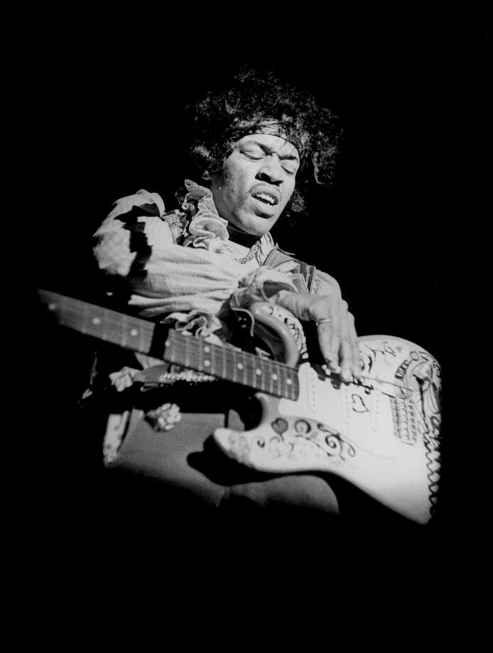 American guitarist Jimi Hendrix (1942 - 1970) plays his Fender Stratocaster guitar while performing at the Monterey International Pop Music Festival, on June 18, 1967 in Monterey, California. (Photo by Ed Caraeff/Getty Images) Photo: Ed Caraeff/Morgan Media/Getty Images