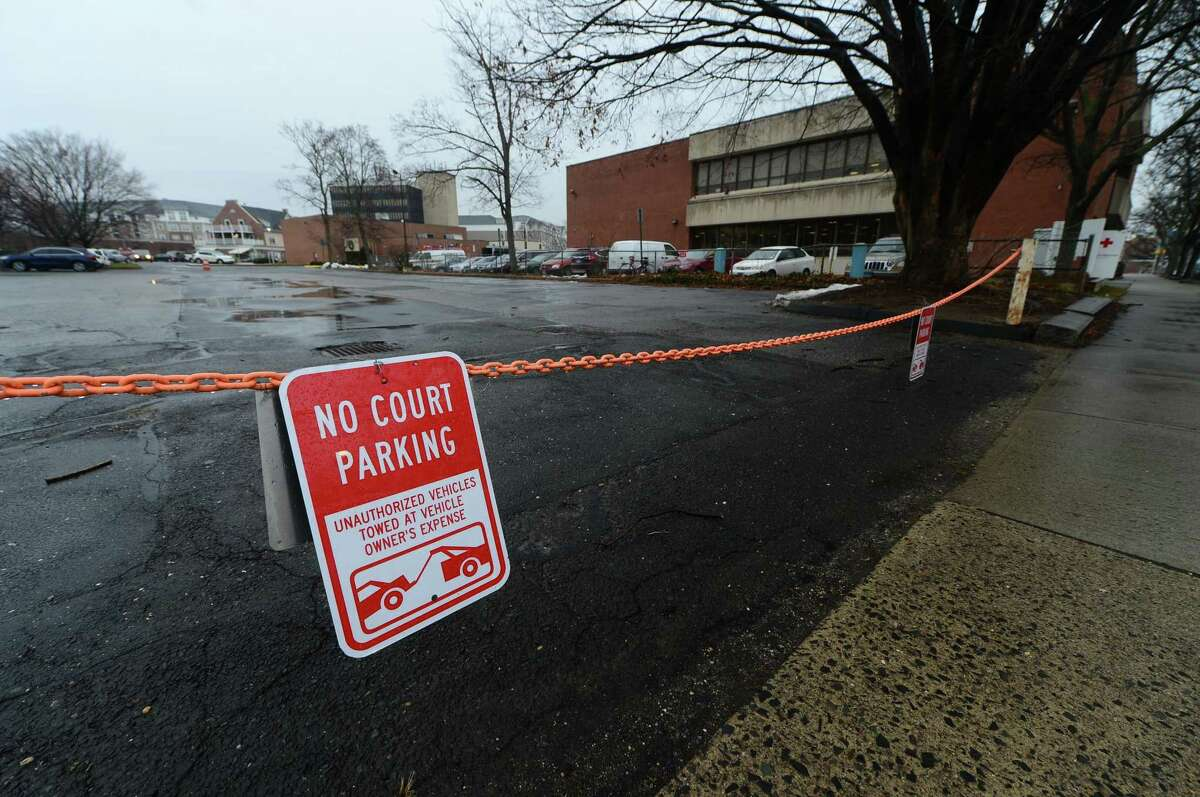 The unused parking lot next to the Norwalk Public Library Main Branch on Mott Avenue in Norwalk.