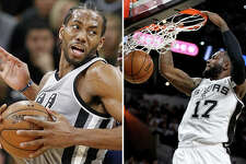 Left, Kawhi Leonard. Right, Jonathon Simmons
