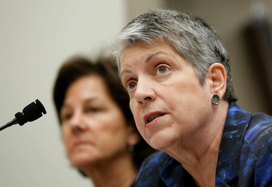 In May, Janet Napolitano (right) and Monica Lozano, then-chair of the UC Board of Regents, appeared before a Joint Legislative Audit Committee in Sacramento. Photo: Rich Pedroncelli, Associated Press