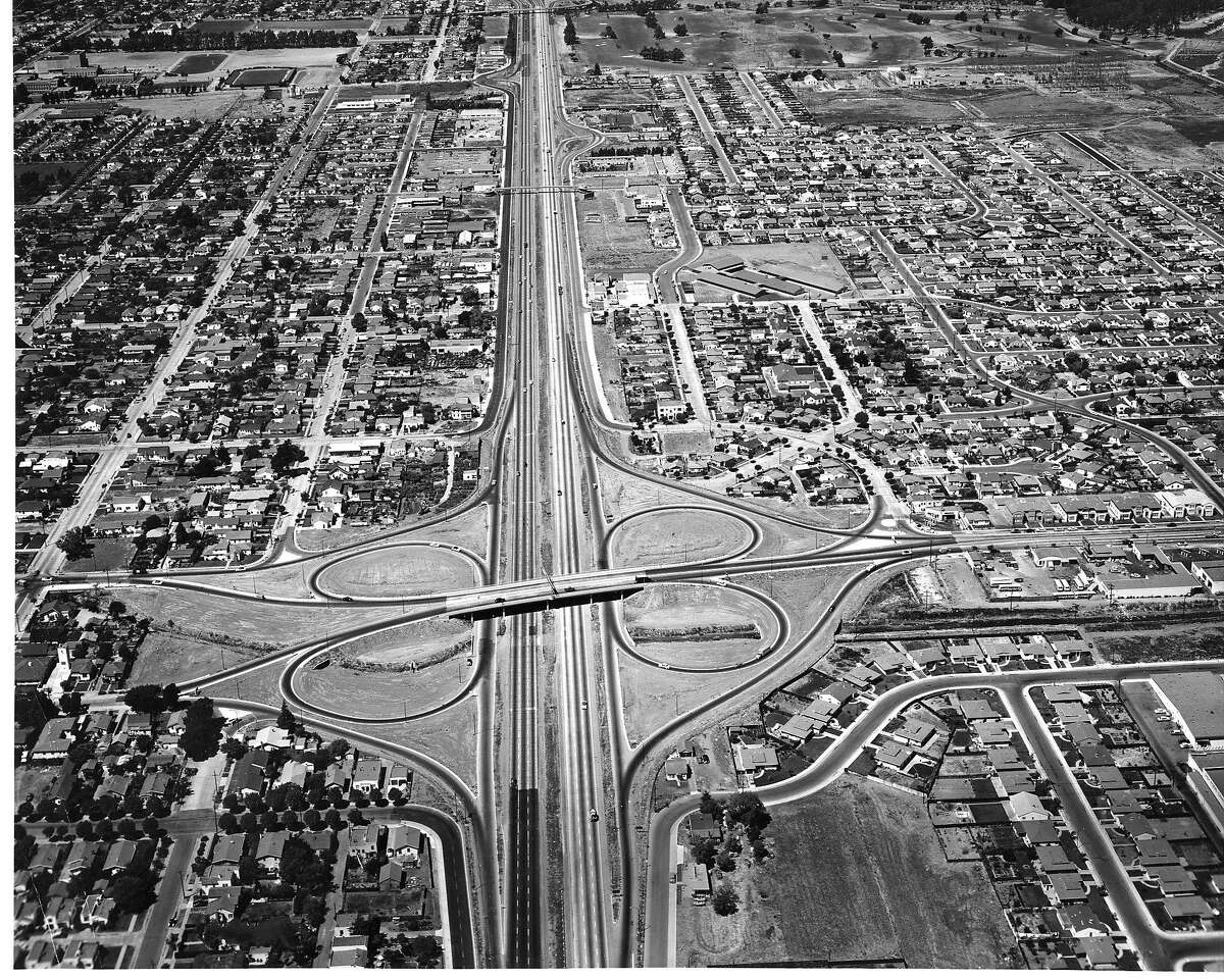 Looking North in San Mateo, with the Bayshore Freeway's 3rd Avenur overpass in the foreground, September 1954 Handout Photo courtesy of California Division of Highways