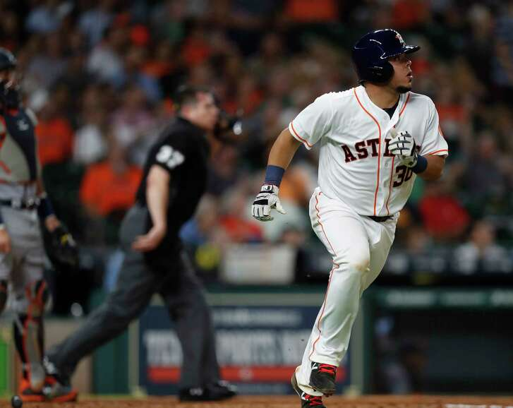 Houston Astros catcher Juan Centeno (30) watches his ball leave the park for a home run during the fourth inning of an MLB baseball game at Minute Maid Park, Tuesday, May 23, 2017.   ( Karen Warren / Houston Chronicle )