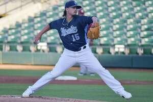 Corpus Christi Hooks pitcher Deen Deetz in action during the 2017 season.