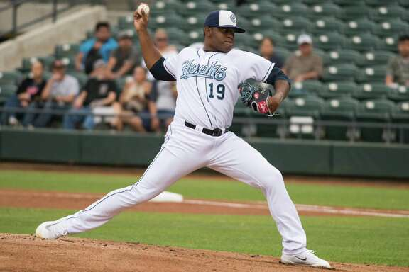 Corpus Christi Hooks pitcher Rogelio Armenteros during a 2017 Texas League game.