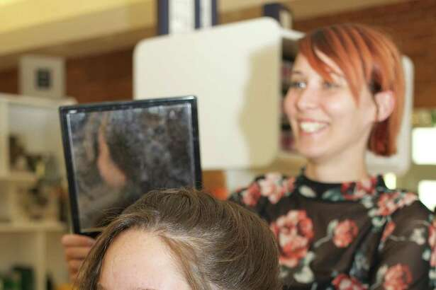 Olivia Casa (Sophomore) getting her hair done by Christine Walsh at Joe's Salon in New Milford