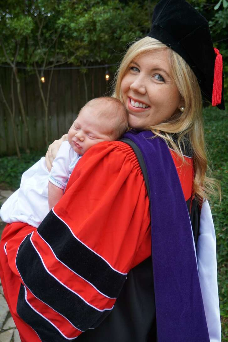"""Margret """"Maggie"""" Webber gave birth to her son Hudson Brian Webber Jr. on May 13, 2017, the same day she was supposed to graduate from the University of Houston Law Center."""