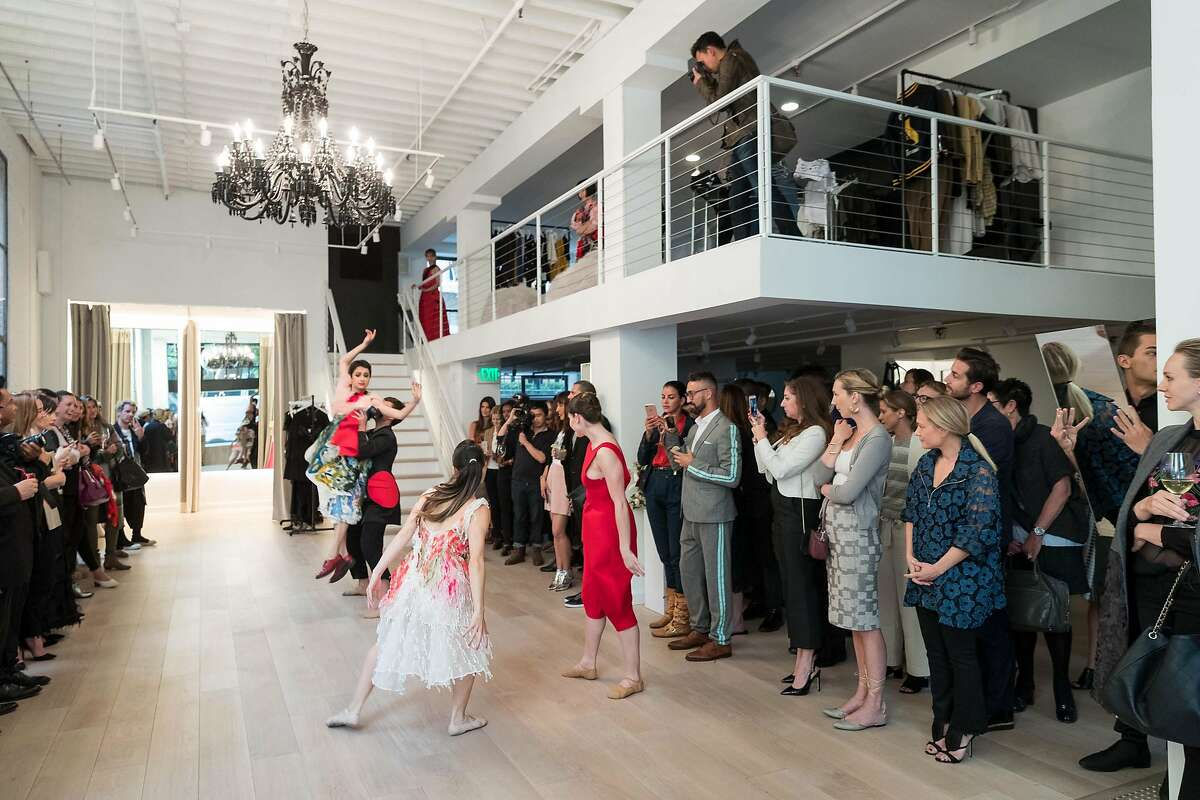 """Models sometimes dance down runways, but Tokyo Gamine designer Yuka Uehara took that a step further when she turned a trunk show at Pia boutique into a three-act ballet to celebrate the line's launch at the boutique. San Francisco Ballet principal dancer Mathilde Froustey led the five dancers and five models from Look Modeling Agency on a journey down an """"Alice and Wonderland""""-inspired fashion rabbit hole."""