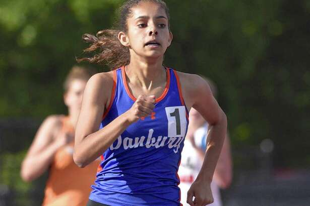 Alexandra Chakar, Danbury High School, competes in the 800 meter run during the girls FCIAC track championships on Wednesday afternoon, May 24, 2017, at Danbury High School, in Danbury, Conn.