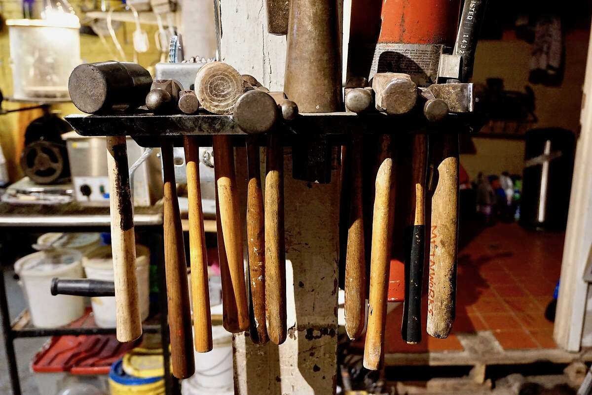 Hammers for the metalsmith jewelry making trade at Macchiarini Creative Design atelier-gallery in North Beach. May 24, 2017.