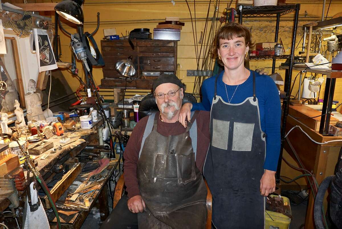 Metalsmith jewelry artists Dan Macchiarini and his daughter, Emma, in their North Beach atelier-gallery. May 24, 2017.