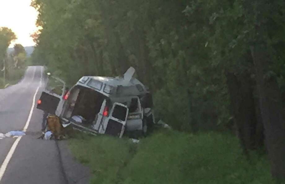 A Mohawk Ambulance crashed into trees along Route 20 in Duanesburg Wednesday evening May 24, 2017. A 64-year-old man died. Photo: Tom Heffernan Sr. / Special To The Times Union