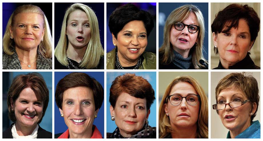 The 10 highest-paid women CEOs: Top row, from left: IBM's Virginia Rometty; Yahoo's Marissa Mayer; PepsiCo's Indra Nooyi; GM's Mary Barra, and General Dynamics' Phebe Novakovic. Bottom row: Lockheed Martin's Marillyn Hewson; Mondelez's Irene Rosenfeld; Duke Energy's Lynn Good; Mylan's Heather Bresch; and Reynolds American's Susan Cameron. Photo: HONS / AP