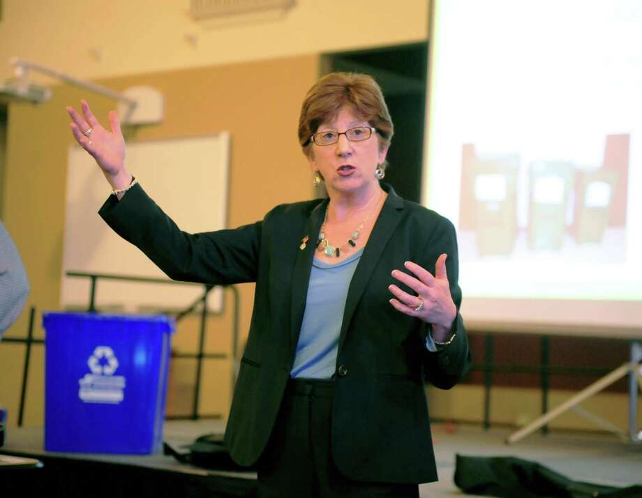 Albany Mayor Kathy Sheehan speaks at the All Saint Catholic Girls Academy in Albany, N.Y. on May 24, 2017. Sheehan fielded questions and input from local residents at the meeting about how the city should handle its municipal waste after it closes the Rapp Road landfill in 2023. (Robert Downen/Times Union)