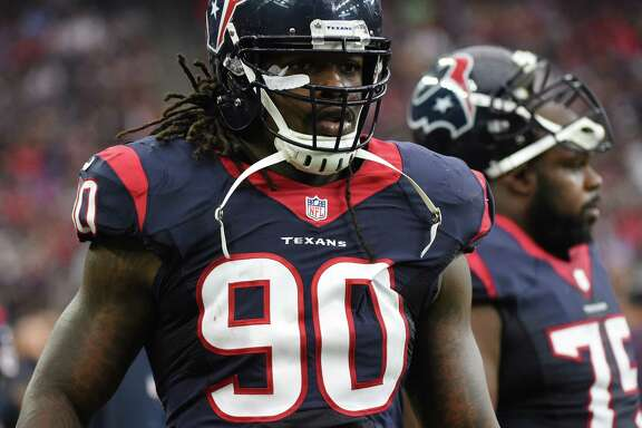 FILE - In this Nov. 1, 2015, file photo, Houston Texans outside linebacker Jadeveon Clowney (90) is shown during the first half of an NFL football game in Houston. Clowney failed to make an impact in his first two injury-plagued NFL seasons. Now the top overall pick in the 2014 draft is healthy, playing well and ready to show off in front of a national audience when the Texans visit the New England Patrtiots who will likely start rookie quarterback Jacoby Brissett on Thursday night, Sept. 22, 2016. (AP Photo/Eric Christian Smith, File)