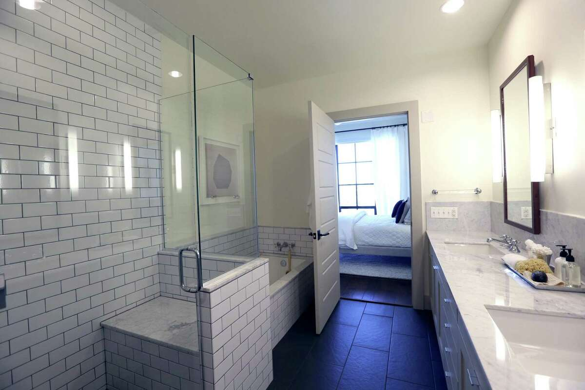 The bathroom in a model apartment at Cellars.