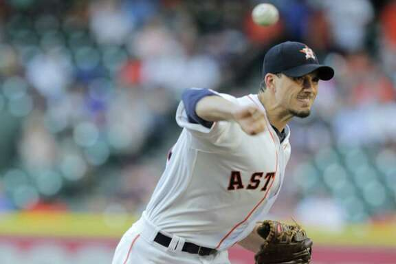 Houston Astros starting pitcher Charlie Morton (50) in the first inning against the Detroit Tigers on Wednesday, May 24, 2017, in Houston. Astros lead the series 2-0. ( Elizabeth Conley / Houston Chronicle )