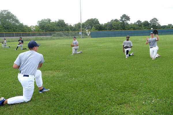West Orange - Stark's baseball team gets in practice after school Tuesday as they prepare for their 1 series playoff game Thursday against Waco Robinson. Photo taken Tuesday, May 23, 2017 Kim Brent/The Enterprise