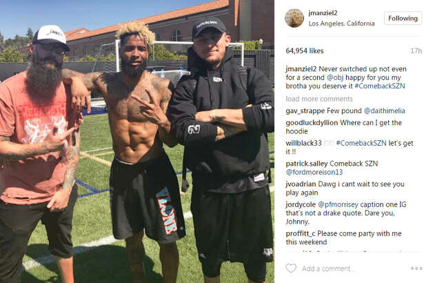 Johnny Manziel posted a photo to Instagram after he worked out with New York Giants star receiver Odell Beckham Jr., on May 24, 2017.