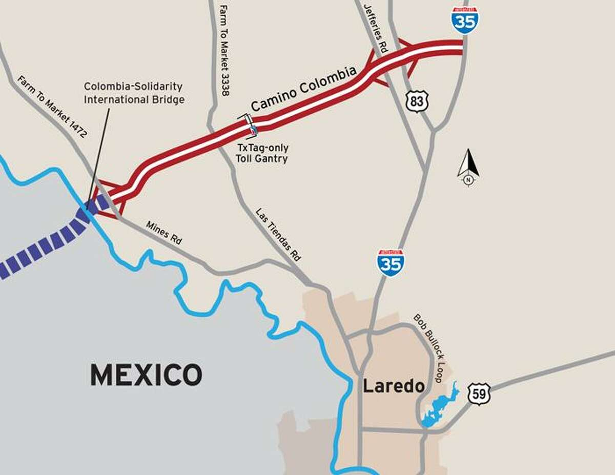 This image shows the Camino Colombia Toll Road leading to the Colombia Solidarity Bridge, which is about 18 miles northwest of the World Trade Bridge. The Texas Department of Transportation announced that it would temporarily waive tolls on the road effective immediately.