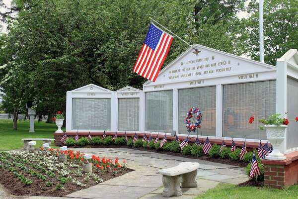 The Honor Roll at the Town Hall Green has been readied in preparation for Monday's Memorial Day parade. Fairfield,CT. 5/23/17