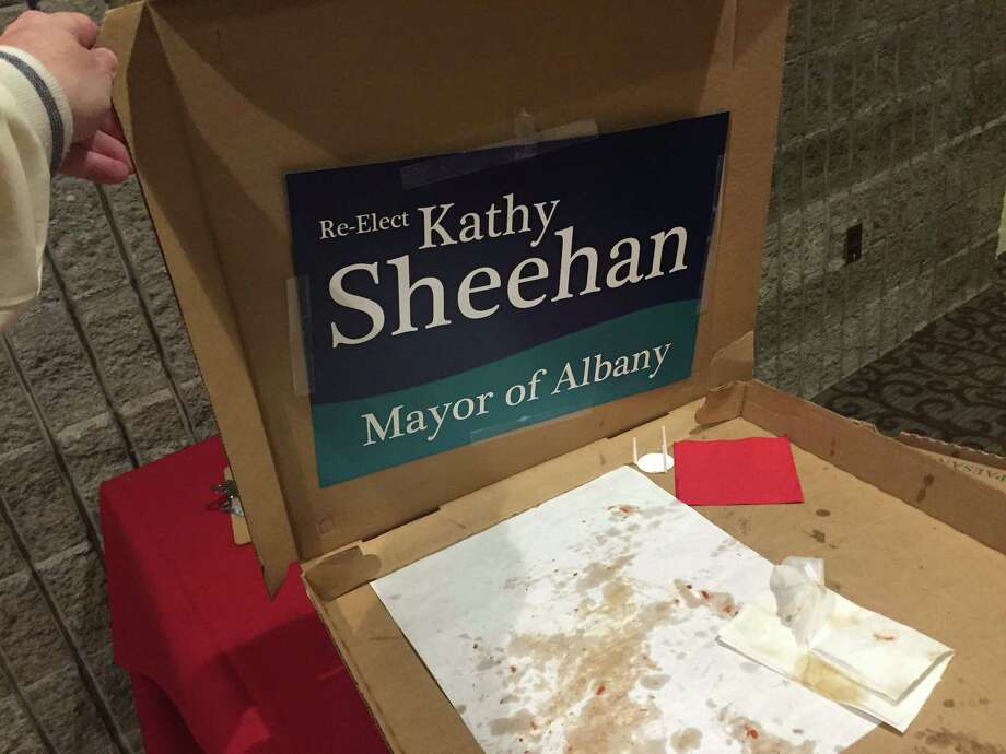 Mayor Kathy Sheehan's campaign caused controversy by handing out pizza at Monday night's meeting of the Albany County Democratic Committee. (Contributed photo)