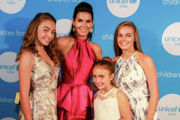 Angie Harmon and her daughters, Finley, from left, Emery and Avery, at the UNICEF Audrey Hepburn Society Ball.  (For the Chronicle/Gary Fountain, May 24, 2017)
